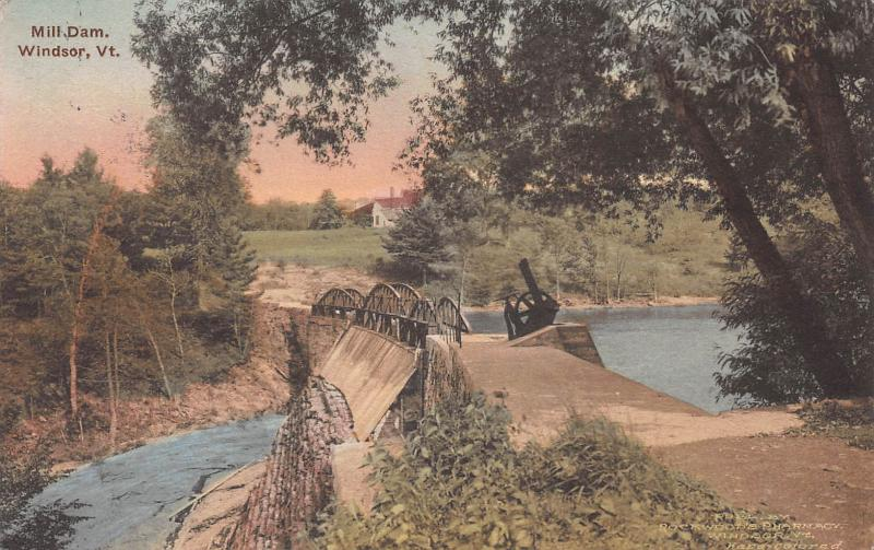 Mill Dam, Windsor, Vermont, Early Hand Colored Postcard, Used in 1920