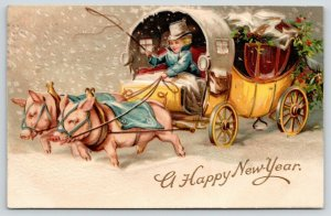 New Year Fantasy Pigs~Hogs Pull Boy Driving Stage Coach~Snowfall~Embossed~MAB