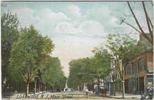 Very vintage postcard, Lakewood, New Jersey, Main st.