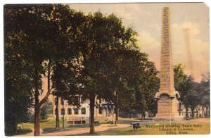 Acton, Mass, Monument showing Town Hall, Library & Common