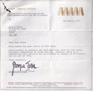 Frank Sinatra Management Company 1978 Concert Letter