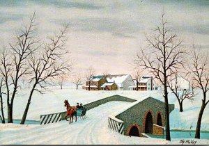 Pennsylvania Ephrata Horse Drawn Sleigh and Bridge