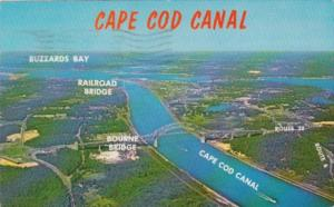 Massachusetts Aerial View Cape Cod Canal and Buzzards Bay 1965