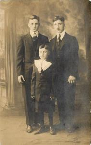 Three Brothers Schmidt Boys knickers Old B&W Photo RPPC Postcard