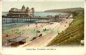1905 Wales Postcard: Colwyn Bay Promenade & RR Station