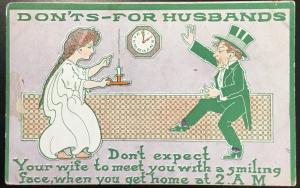 "Vintage Postcard Unused ""Dont' For Husbands"" Man/Woman Irish? LB"
