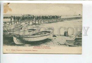 435975 TURKEY Samsoun pier turkish flags Vintage postcard