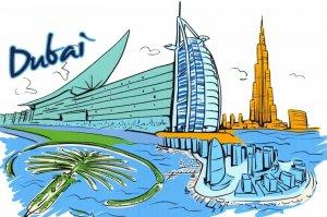 Art Postcard, Dubai, UAE, Landmarks, City, View, Travel 22i
