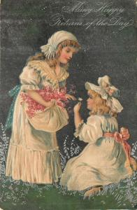 PFB~Victorian Girls~Pink Flowers In Apron~White Dresses~Hats~Silver~Emb~Ser 7046