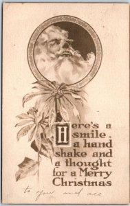 1912 SANTA CLAUS Christmas Postcard Here's a Smile, a Handshake & A Thought