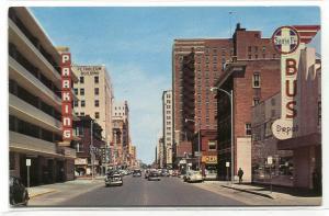 Broadway Street Scene Santa Fe Union Bus Depot Wichita Kansas 1955 postcard