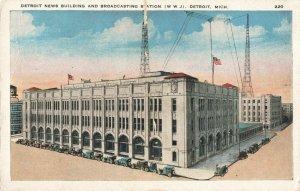 Postcard News Building and Broadcasting Station WWJ Detroit Michigan