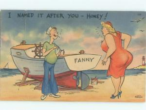 Linen Risque CHUBBY FAT WOMAN SEES HUSBAND NAMED HIS BOAT FANNY AB6398