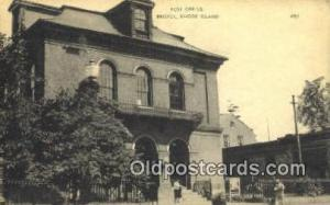 Bristol, RI USA,  Post Office Postcard, Postoffice Post Card Old Vintage Anti...
