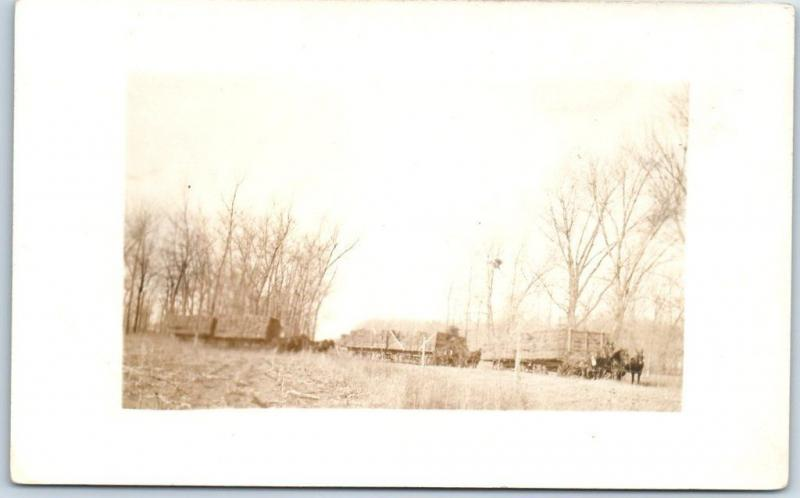 Vintage RPPC Real Photo Postcard FARMING SCENE Horse Wagons c1910s Unused