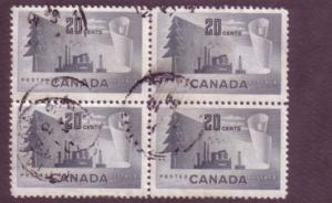 Canada, Used Block of Four, Forestry, 20 Cent, Scott #316