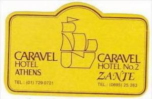 GREECE ATHENS CARAVEL HOTEL VINTAGE LUGGAGE LABEL