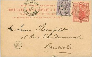 Entier Postal Stationery 1p + 1/2 for Brussels 1893
