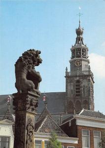 Netherlands Gouda Leeuw op zuil van Het bordes Statue Church Tower Clock Eglise