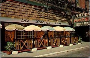 Yates Hotel Swiss Inn NY Syracuse European Style Outdoor Dining vtg Postcard