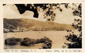 St. Thomas Virgin Islands 1936 RPPC Real Photo Postcard Harbor Town View Ottley