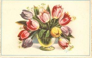 Flowers. Beautiful tulips in vase  Nice vintage Spanish postcard. Signed