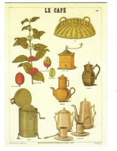 Beautiful Le Cafe Coffee and Coffee Pots Printed in France 4 by 6