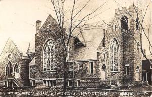 Sandusky Michigan ME Church Exterior Real Photo Antique Postcard K27111