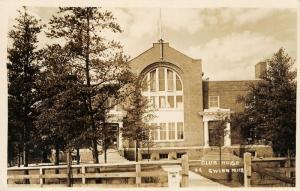 Gwinn Michigan~Concert @ Club House~Columns @ Entrance~c1930 RPPC Postcard