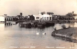 Phoenix AZ~Encanto Park Lagoon~Swans~Boat House~Concert Last Night~1940s RPPC