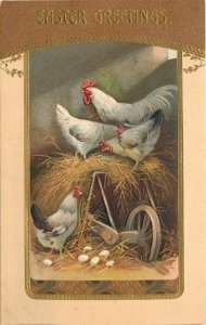 Easter~Rooster~Hens On Tipped Wheelbarrow~Eggs In The Hay~Gold~Embossed~Germany