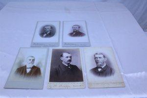 Lot of 5 Ca 1890's Cabinet Cards of Men - Beardsleys, J.H. Phipps, A. Devereaux