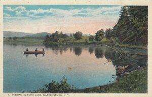 WARRENSBURG, New York, 1910s; Fishing in Echo Lake