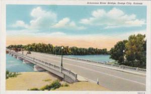 Kansas Dodge City Arkansas River Bridge Curteich