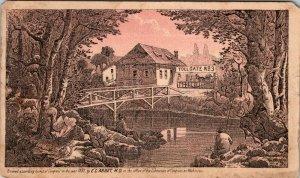 1884 PUZZLE Trade Card Dr. EC Abbey Buffalo NY Toll Gate Book Promo Human Ills