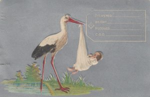 Stork carrying baby, 1909; Blank Birth Announcement