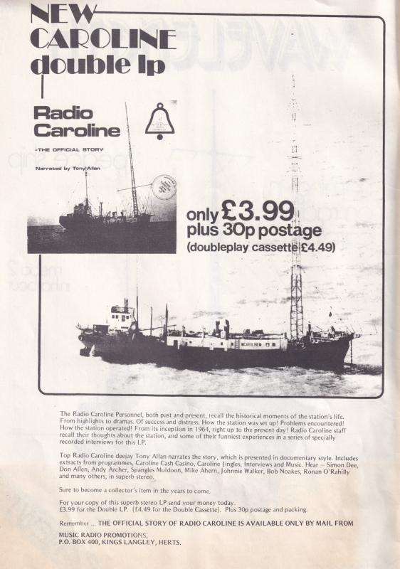 Radio Caroline Pirate MI Amigo Spain Ship DJ ISSUE ONE RARE Magazine