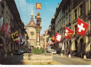 Switzerland Bern Zaehringer Fountain and Zeitglocken Tower