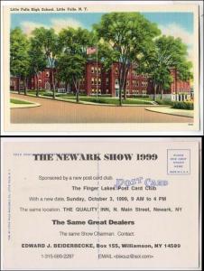 NY - Little Falls. High School.  Newark Postcard Show Advertising on back