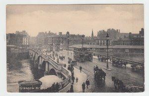 P1971 old scotland postcard double deck trollies horses wagons glascow bridge