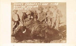 F36/ Alcova Wyoming Postcard RPPC c1940s Boney Earnest Buffalo Hunter