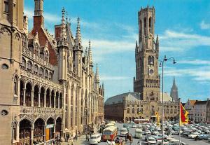 Belgium Brugge Grote Markt en Belfort, Market Place and Belfry Cars Voitures