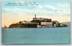 San Francisco Bay CA~Alcatraz Island Federal Military Prison~Close Up~c1910 PC