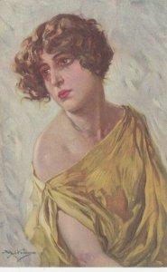 Woman portrait , 1900-10s ; #13A ; Artist Achille Beltrame