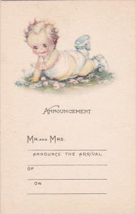 Birth Announcement Baby Crawling With Flowers