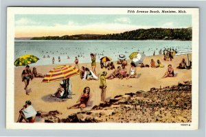 Manistee MI- Michigan, Fifth Avenue Beach, Vintage Chrome Postcard