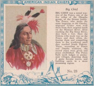 TC: RED MAN Chewing Tobacco Trade Card , 1890s ; American Indian Chiefs ; BIG...