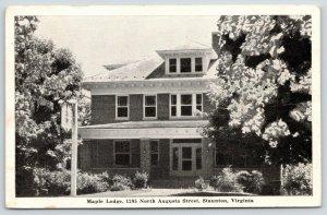 Stanton VA Big Brick American Square Maple Lodge @ 1205 N Augusta St 1949 B&W