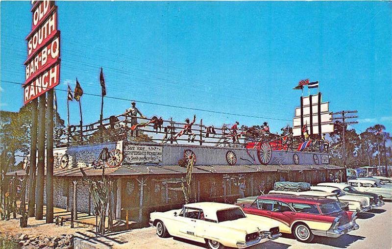 Fort Myers FL Old South Bar-B-Q Ranch Drive-In Restaurant T-Bird Cars Postcard