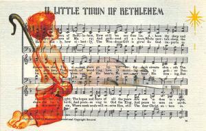 Little Town of Bethlehem Christmas Music Linen Postcard